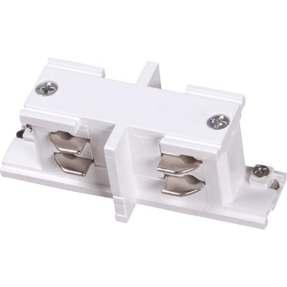 Mini straight connector for 3-phase track rail, white