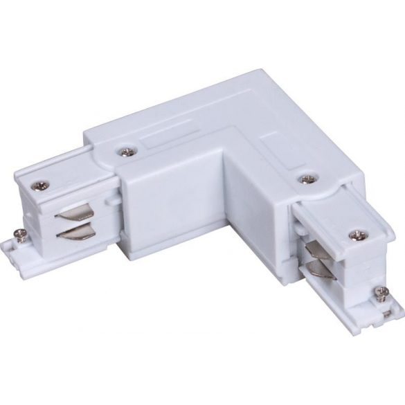 L connector for 3-phase track rail, white