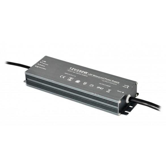 Fémházas LED tápegység 250W, DC12V, 20,8A, IP67