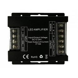 Amplifier for RGB/CCT LED strip 3*10A, DC12V - 360W; DC24V - 720W