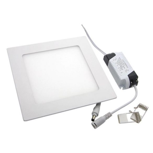 24W süllyeszthető led panel, négyzet alakú, meleg fehér (3000K)