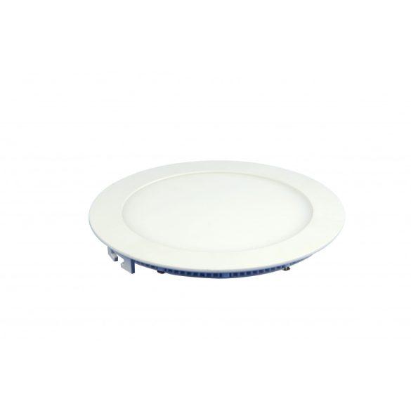 12W süllyeszthető led panel, kör alakú, meleg fehér (3000K)